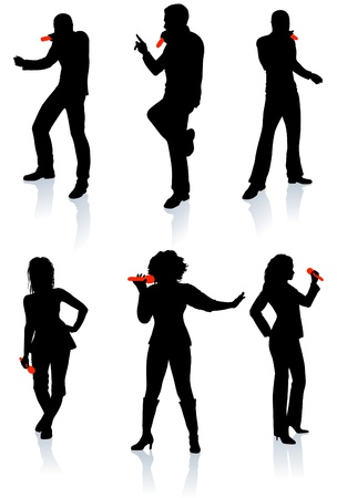 hiphop: Singers Silhouette Collection Original Vector Illustration People Silhouette Sets Illustration