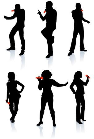 weiblich: Singers Silhouette Collection Ursprünglichen Vector Illustration Menschen Silhouette Sets