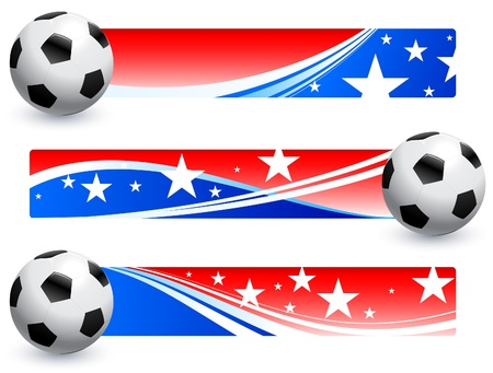 Soccer (football) Ball with American Banners Original Vector Illustration AI8 Compatible Vector