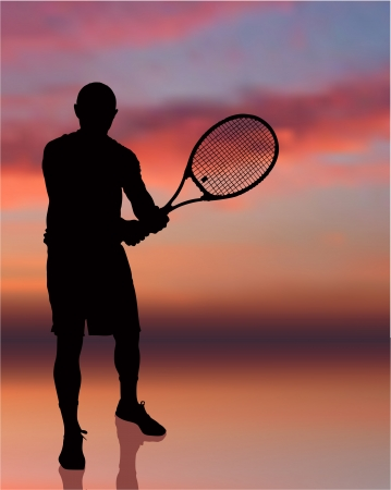 Tennis Player on Sunset Background Original Illustration