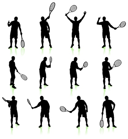 backhand: Tennis Player Silhouette Collection Original Vector Illustration