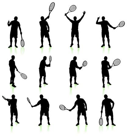 raquet: Tennis Player Silhouette Collection Original Vector Illustration