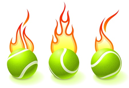 Fire Tennis Ball Collection Original Vector Illustration