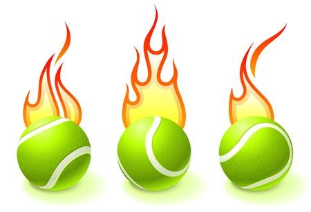 Fuego Tennis Ball Colección Ilustración vectorial original
