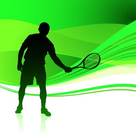 wimbledon: Tennis Player on Green Abstract Background Original Vector Illustration Illustration