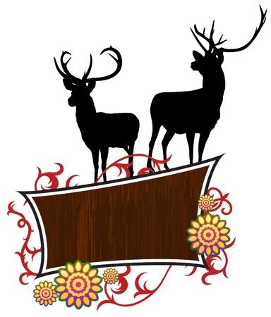 Deer with abstract frame background Original Vector Illustration