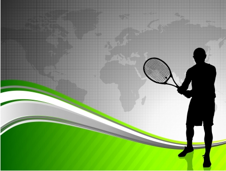 Tennis world map stock photos royalty free tennis world map images tennis player with world map on abstract background original illustration gumiabroncs Images
