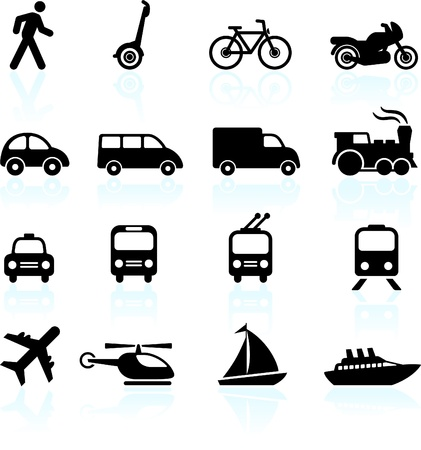 Original vector illustration: Transportation icons design elements Çizim