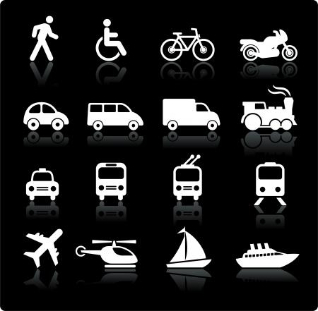 元のベクター イラスト: 交通機関アイコン デザイン要素