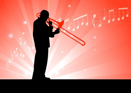 Trumpet Musician on Red Background with Notes Original Illustration Vector