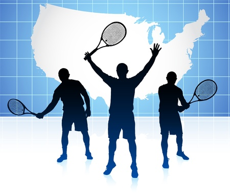backhand: Tennis Player with United States Map Background Original Illustration