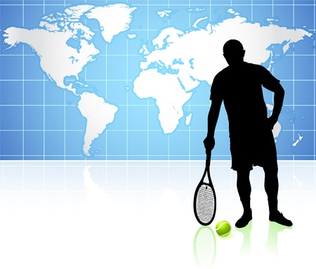 Tennis Player with World Map Background Original Illustration Vector