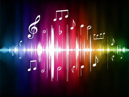 music: Color Spectrum Pulse with Musical Notes Original Vector Illustration