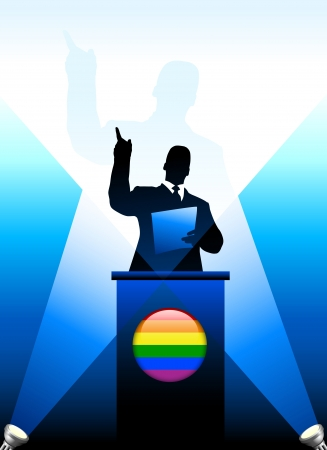 Leader Giving Speech on Stage Original Vector Illustration