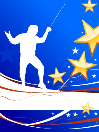 Fencing Sport on American Patriotic Background Original Illustration Vector