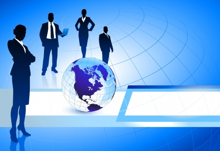 Business Team with Globe on Abstract BackgroundOriginal Illustration Stock Vector - 21200896