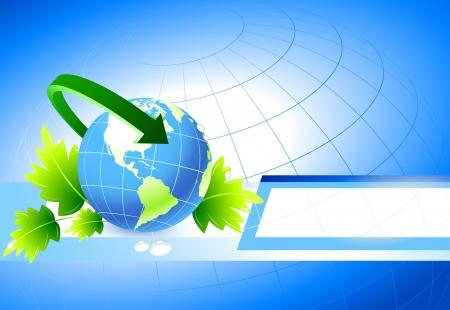 Globe on Nature BackgroundOriginal Illustration