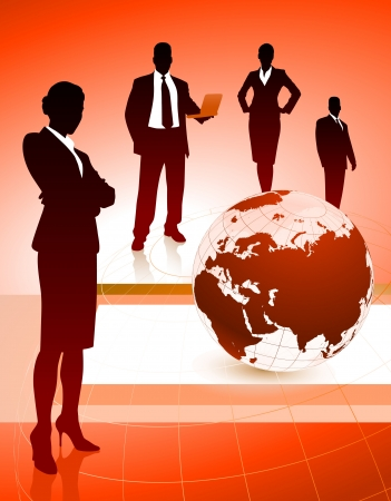 Business Team with Globe on Abstract BackgroundOriginal Illustration Stock Vector - 21200922