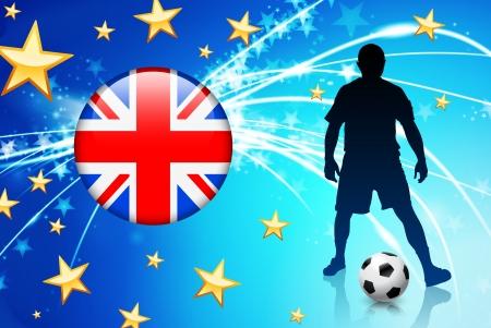 British Soccer Player on Abstract Light BackgroundOriginal Illustration Vectores
