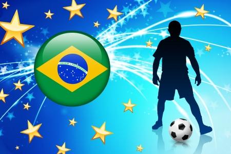 brasil: Brasil Soccer Player on Abstract Light Background Original Illustration