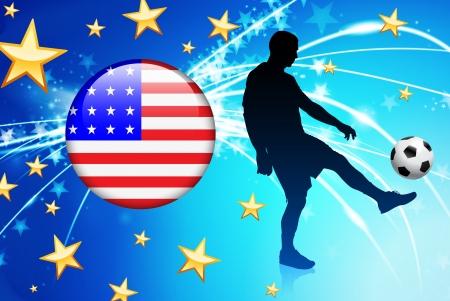United States Soccer Player with Flag on Light Background Original Illustration Vector