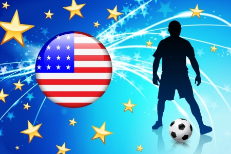 United States Soccer Player with Flag on Light Background Original Illustration Vector