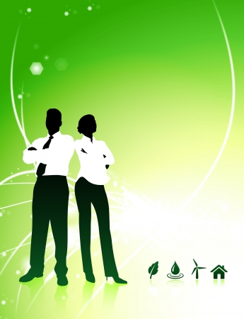 Business Couple on Abstract Light Background with Nature Icons