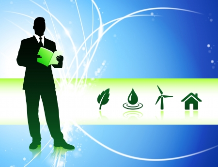 Businessman on Abstract Background with Nature IconsOriginal Illustration