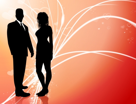 Sexy Young Couple on Abstract Valentines Day Light Background Original Illustration