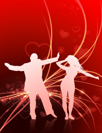dancing club: Sexy Young Couple on Abstract Valentines Day Light Background Original Illustration