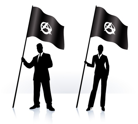 anarchy: Business silhouettes with waving flag of Anarchy