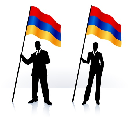 armenian woman: Business silhouettes with waving flag of Armenia