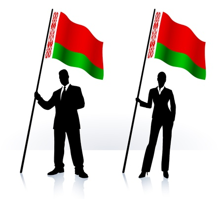 Business silhouettes with waving flag of Belarus   向量圖像