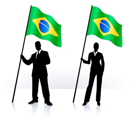 Business silhouettes with waving flag of Brazil Imagens - 21201138