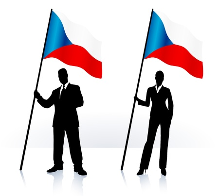 Business silhouettes with waving flag of Czech Republic  Ilustrace