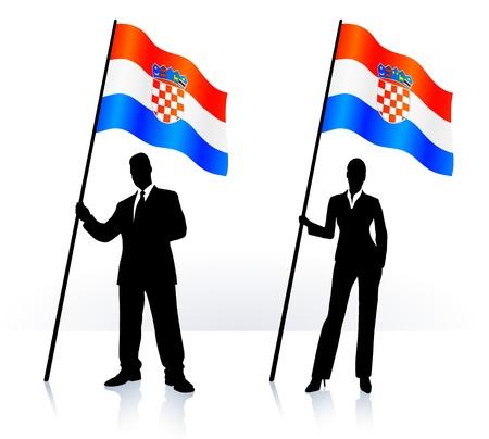 Business silhouettes with waving flag of  Croatia   Ilustração