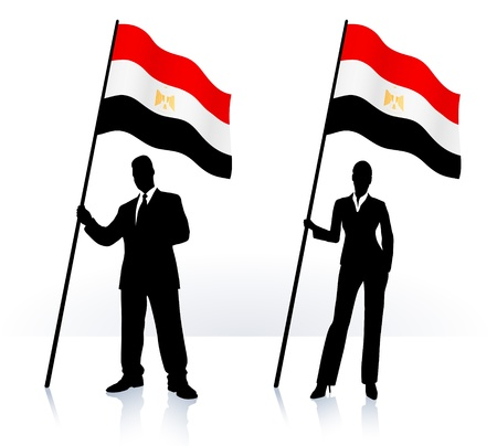 Business silhouettes with waving flag of  Egypt  Vector