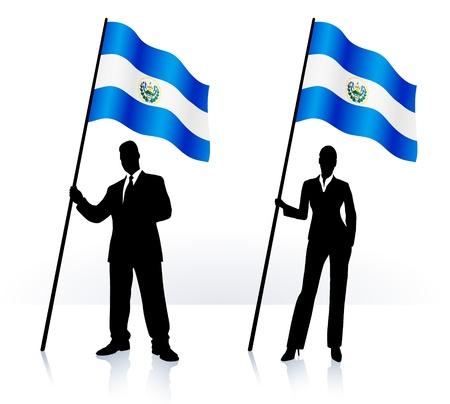 bandera de el salvador: Siluetas de negocio con ondeando la bandera de El Salvador Vectores