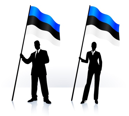 digitally generated image: Business silhouettes with waving flag of  Estonia