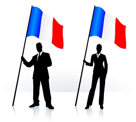 french flag: Business silhouettes with waving flag of  France   Illustration