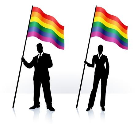 gay: Business-Silhouetten mit winken Flagge der Homosexuell Pride Illustration