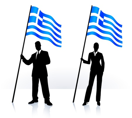 Business silhouettes with waving flag of  Greece   Vector