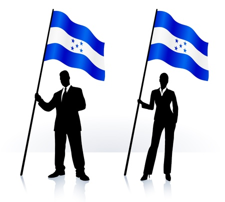 merger: Business silhouettes with waving flag of  Honduras  Illustration