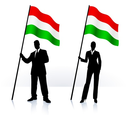 Business silhouettes with waving flag of  Hungary   向量圖像