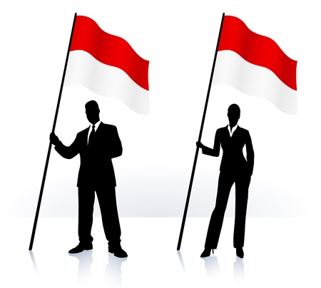 Business silhouettes with waving flag of Indonesia  向量圖像