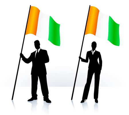 ireland flag: Business silhouettes with waving flag of  Ireland
