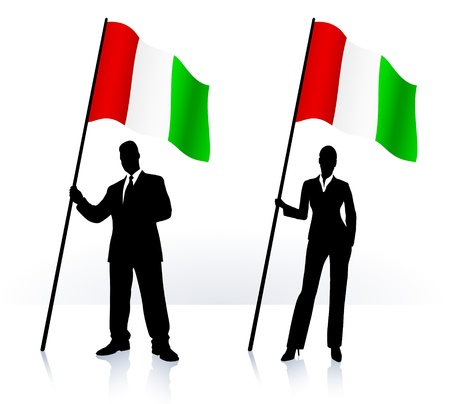 Business silhouettes with waving flag of  Italy  Vector