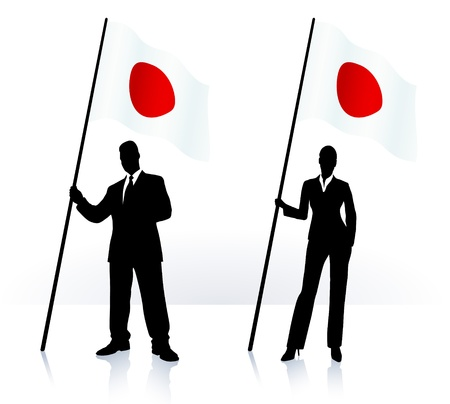 Business silhouettes with waving flag of  Japan Stock Vector - 21201199