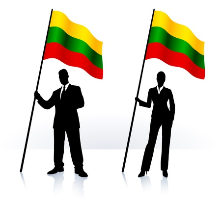 Business silhouettes with waving flag of  Lithuania  Ilustrace