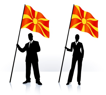 macedonia: Business silhouettes with waving flag of Macedonia  Illustration